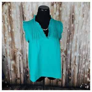 See by Chloe Cotton Ruffle Blouse Emerald 6
